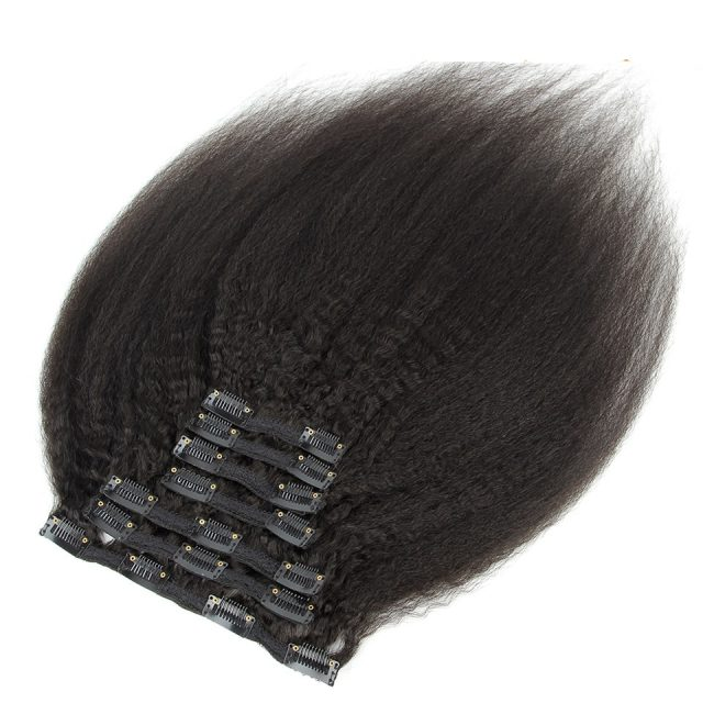Kinky Straight Clip In Brazilian Human Hair Extensions