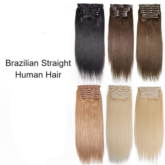 Brazilian Straight Human Hair Clip In Extensions