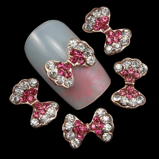 3d Bows Nail Art Decorations with Rhinestones