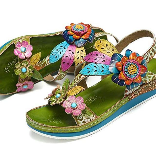 Genuine Leather Flower Retro Sandal