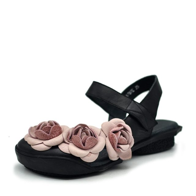 Flower Leather Open Back Summer Shoes